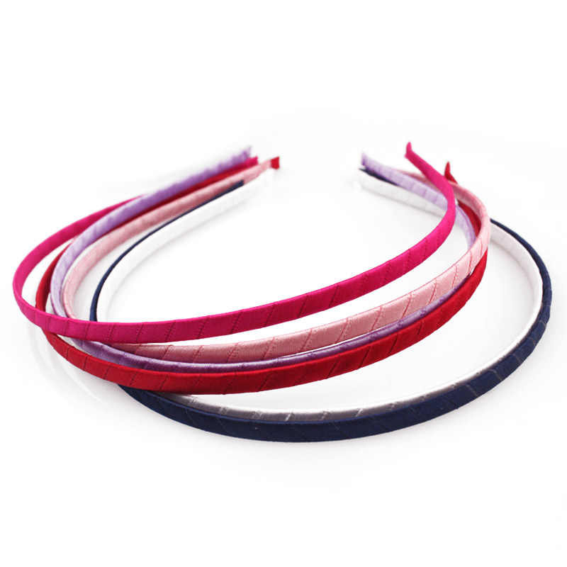5mm Ribbon Wrapped Hair Hoop DIY Candy Color Headband Handmade Solid Satin Covered Head Hoop Kid Girls Hairband Hair Accessories