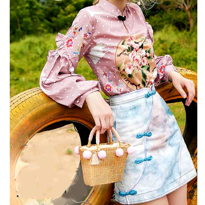 2 Pcs Women Outfits Mandarin Collars Design Buttons Tops Vintage Lantern Sleeve Ruffles Blouses And Nice Skirt And Blouse NS314