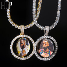 Hip Hop Custom Made Photo Round Rotating Double-sided Iced Out Bling Cubic Zircon Necklace&Pendant For Men Jewelry Tennis Chain