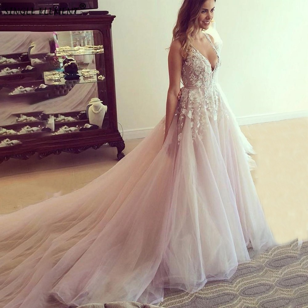 Wholesale A Line V Neck Tulle Wedding Dresses Applique Open Back Floor Length Cathedral Train Bridal Dress Vestido De Noiva