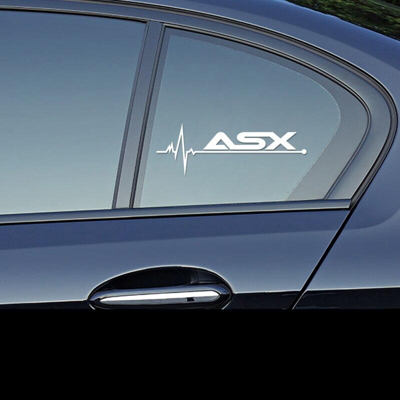Calcomanía de carreras para mitsubishi ASX outlander pajero lancer emblemas de coche 1 Uds. LEEPEE luminosa etiqueta engomada del coche de estilo de la puerta de coche ventana levantar ventana botón pegatina para Mitsubishi ASX Outlander 2013 de 2016 a 201