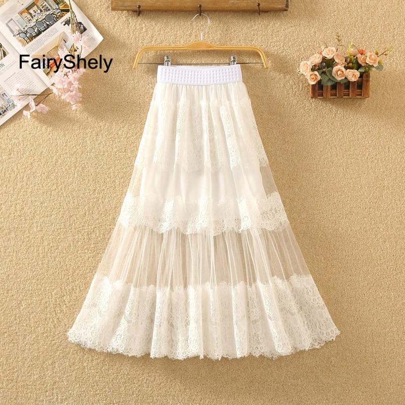 FairyShely 2020 Pleated Long Skirt Women Summer Elastic Band High Waist Mesh Lace Hollow Out Skirt White Maxi Office Skirt