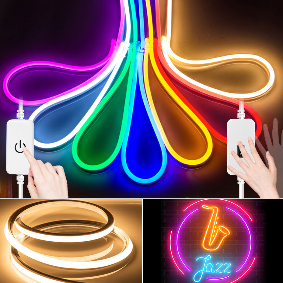 Светодиодная лента RGB SMD2835 с датчиком движения руки, водонепроницаемая неоновая лампа с изменением цвета, 12 В постоянного тока, 1 м-5 м для укр...