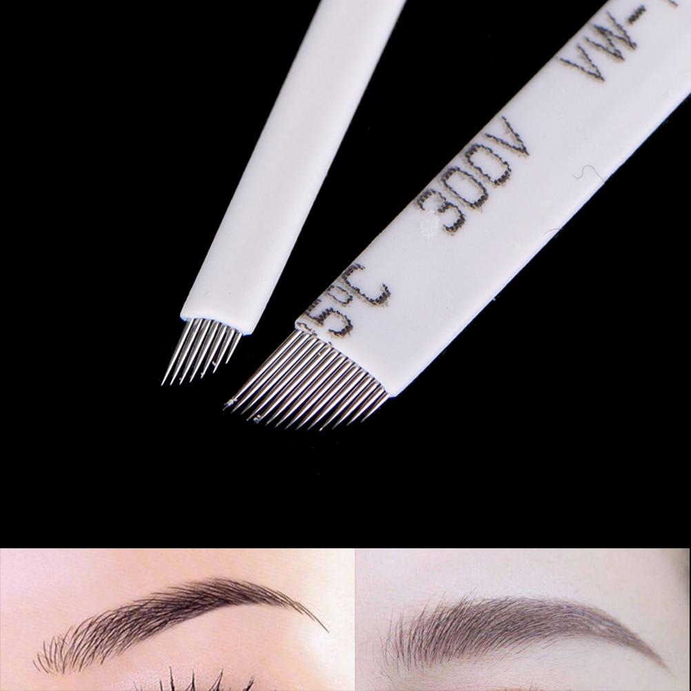 10Pcs 7 9 11 12 14 Pins Lamina Blade Microblading Needles Makeup Eyebrow Tattoo Needles For 3D Embroidery Manual Tattoo Pen
