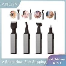 Electric Nose Ear Hair Trimmer Epilator Beard Eyebrow Epilator Nose Hair Ear Shaver Rechargeable Hair Clipper Tool Men 4 in 1