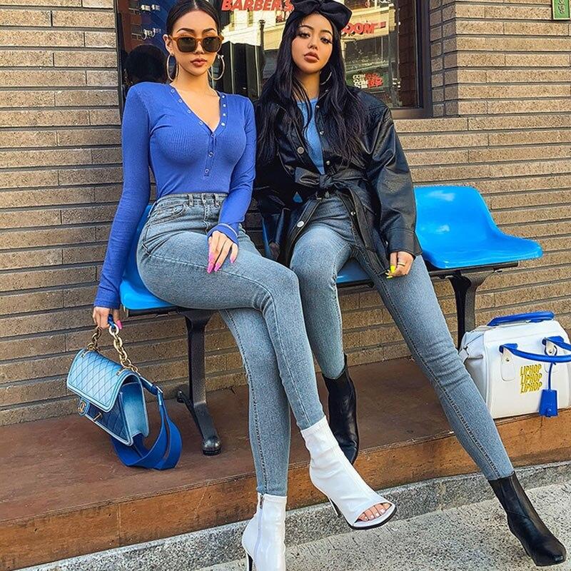 Women's Jeans High Waist Stretch Skinny Denim Pants 2020 Autumn Winter Blue Retro Washed Elastic Slim Pencil Trousers 5