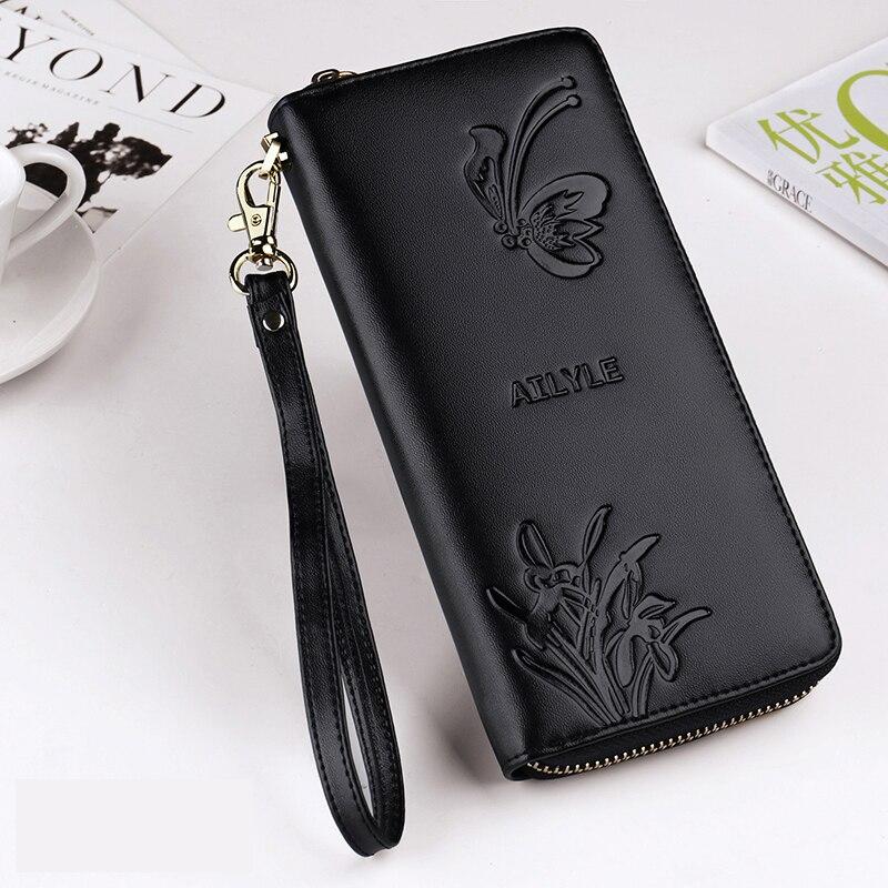 2019 Women's Wallet Genuine Leather Wallets Female Portomonee Coin Purse Long Clutch Purses Phone Card Holder Carteras Handbags