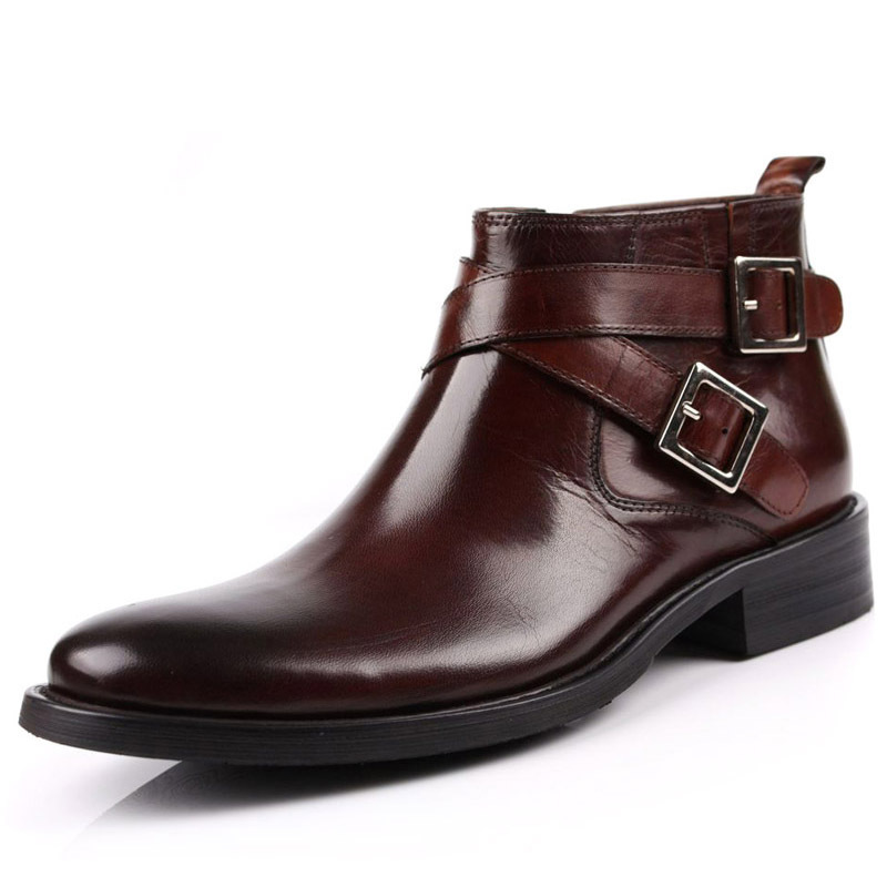 Men Boots Genuine Leather Double Buckle Black Brown Male Ankle Boots Shoes Motorcycle Biker High Quality Footwear Large Size