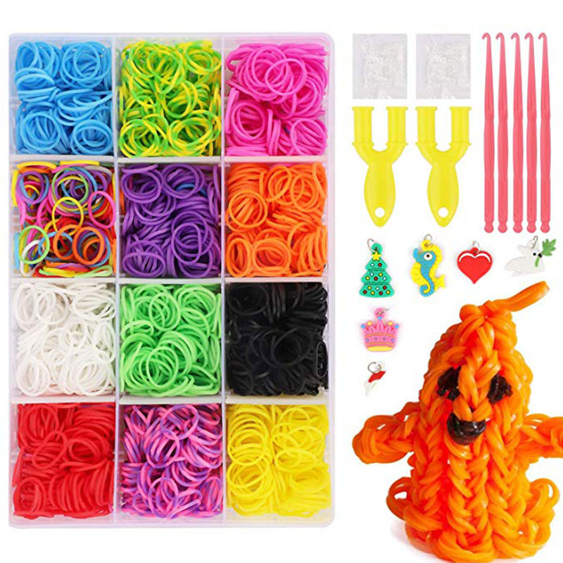 Bopoobo Rubber Loom Bands DIY Toys 10000pcs For Children Lacing Bracelet Elastic Rainbow Weave Silicone Rubber Bands Gifts
