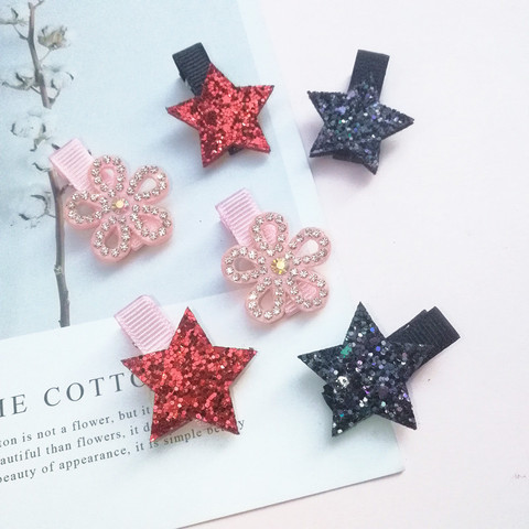 2/6/10pcs/set Synthetic Leather stars butterfly hair clips for girls flower hair Bow hairpin girls children hair accessories Multan