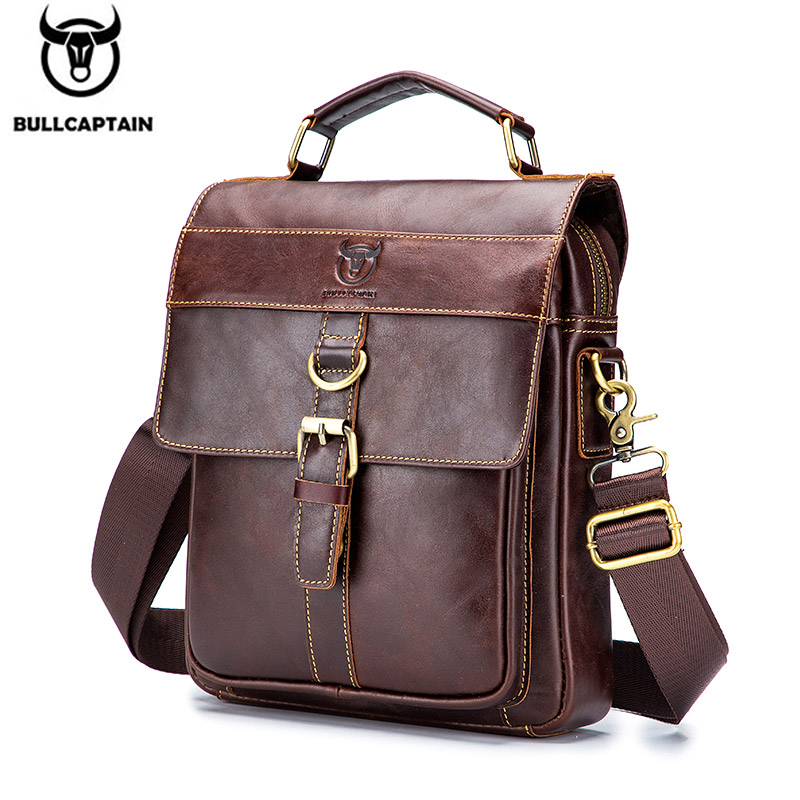 BULLCAPTAIN Retro Business Messenger Bag, Leather Men's Shoulder Bag, Fashion Casual Handbag, Teen Student Bag