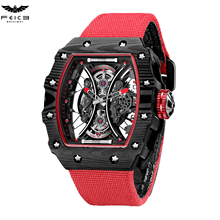 FEICE Men Skeleton Automatic Mechanical Watch Barrel Type Do