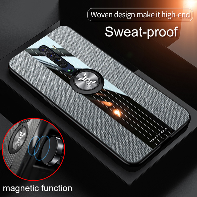 Magnetic Ring Holder Phone Case for OPPO Reno 2z Case Cover  Fabric Soft Frame Cloth Shockproof Fundas Case for Reno 2 2z Case