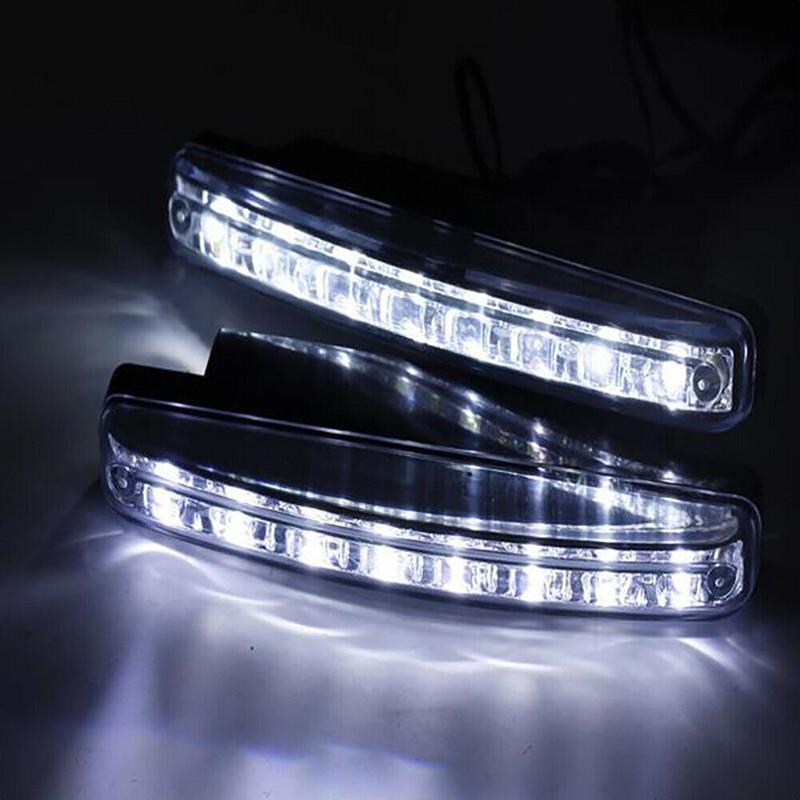 Универсальные отражатели 2 шт мощностью 8 светодиодов Автомобильные дневные ходовые огни DRL Авто Противо-Туманная фара супер яркий Водонепр...