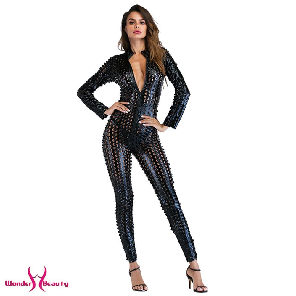 Faux Leather Catsuit Catwomen Shiny Black Gold Silver Metallic Leather Jumpsuit Wetlook PU Leotard Bodysuit Bar Night Clubwear (33)