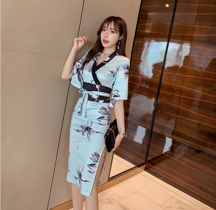 2019 Japanese Style Retro Kimono Floral Half Sleeve Women Dress Outfits Female Haori Mujer Yukata