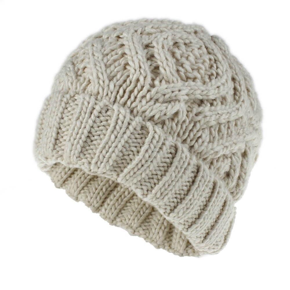 Soft Plaid Knit Winter Hats Womens   Beanies     Skullies   Cap Beige White Yellow Grey Size 56CM
