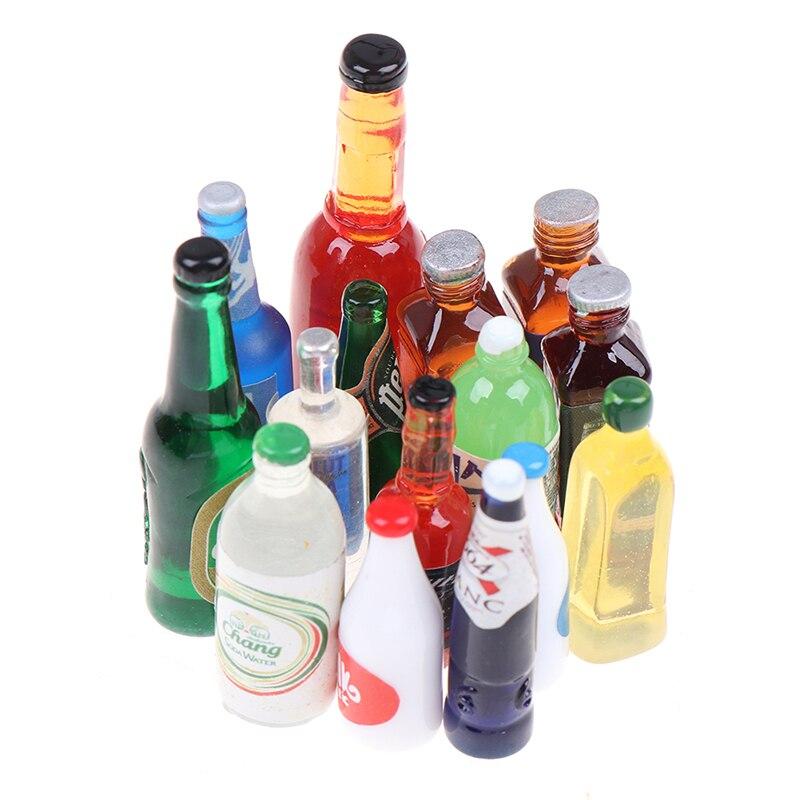 5Pcs 1:12 Dollhouse Miniature Drinks Bottles Model Dolls Kitchen Accessories Simulation Furniture Toys