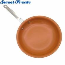 Poêle à frire en cuivre antiadhésif avec revêtement en céramique et cuisson à Induction, au four et au lave vaisselle, 10 & 8 pouces