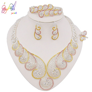 Image 5 - Yulaili High Quality Dubai Gold Jewelry Sets African Nigeria Wedding Bridal Crystal Necklace Earrings Bracelet Ring for Women