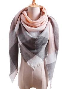 Women's Scarfs Wraps Winter Shawls Cashmere Plaid Triangular Warm Autumn Simple Color