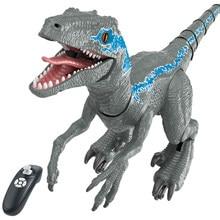 Dinossauro rc 2.4g inteligente raptor spray rc animal controle remoto jurássico velociraptor dinobot andando música animais brinquedos