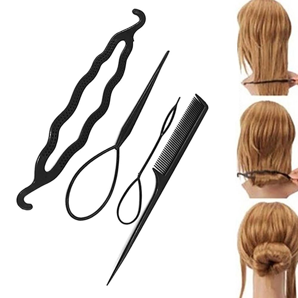Hot 4pcs/set Magic Hair Braiding Twist Curler Styling Set Hairpin Holding Hair Braiders Pull Hair Needle Ponytail DIY Tool