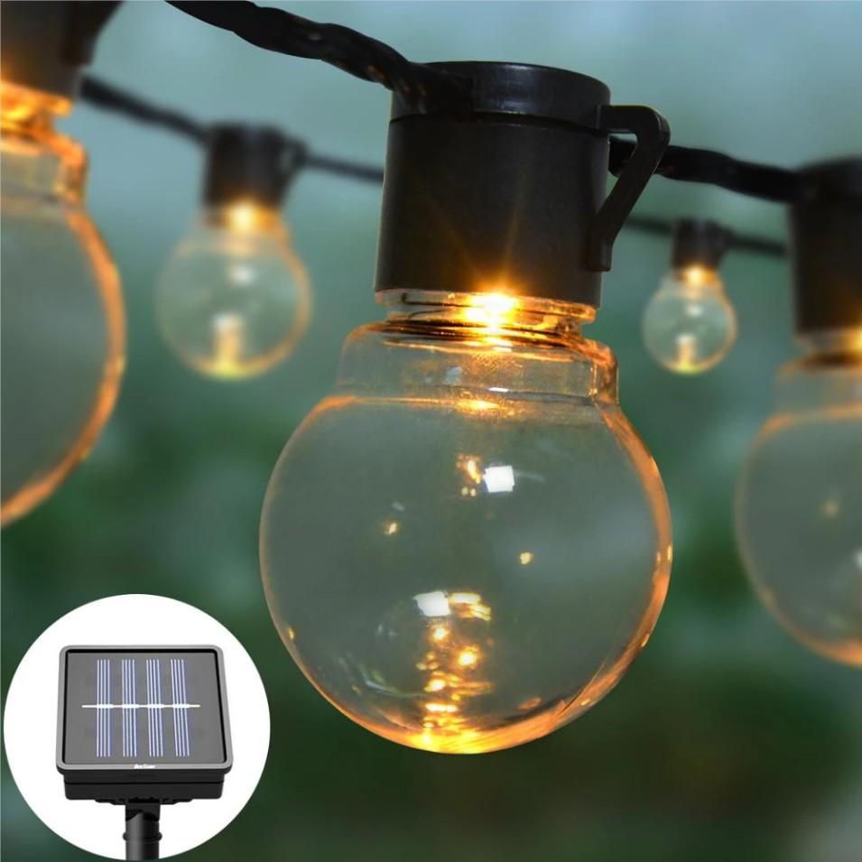 10 20 Bulbs LED Solar Lamp String Lights Balls Waterproof Balcony Porch Fairy Lights Outdoor Solar LED Lights Garden Decoration
