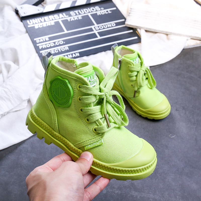 Kids Shoes For Girl Baby Sneakers 2019 Fashion High Top Canvas Toddler Boy Shoes Children Green Classical Girls Canvas Shoes