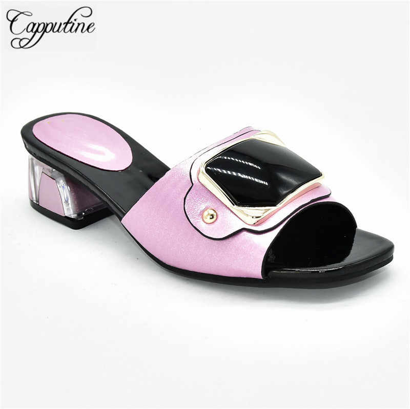 Cudowne różowe pantofle damskie afrykańskie buty na obcasie Mediun 88-8 wysokość obcasa 5 CM, 5 kolorów