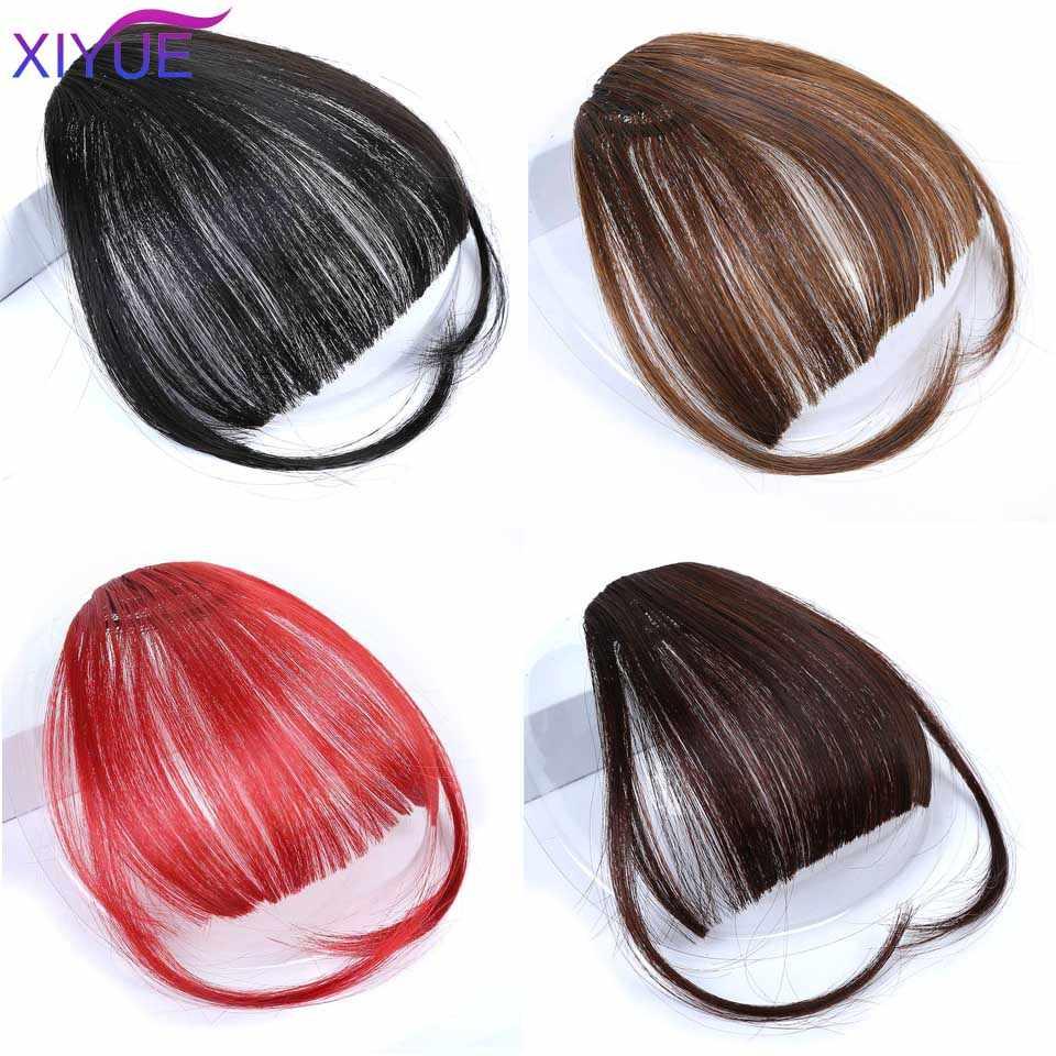 2020 heißer Verkauf Clip In Haar Pony Haarteil Synthetische Gefälschte Pony Haar Stück Clip In Haar Extensions Stumpfen Clip auf pony Schwarz Hai