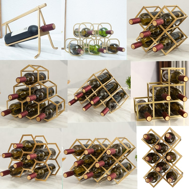 Simple Diamond Wine Rack Display Lattice Wine Cabinet Metal Lattice Customized Red Wine Rack Creative Wine Cabinet CF