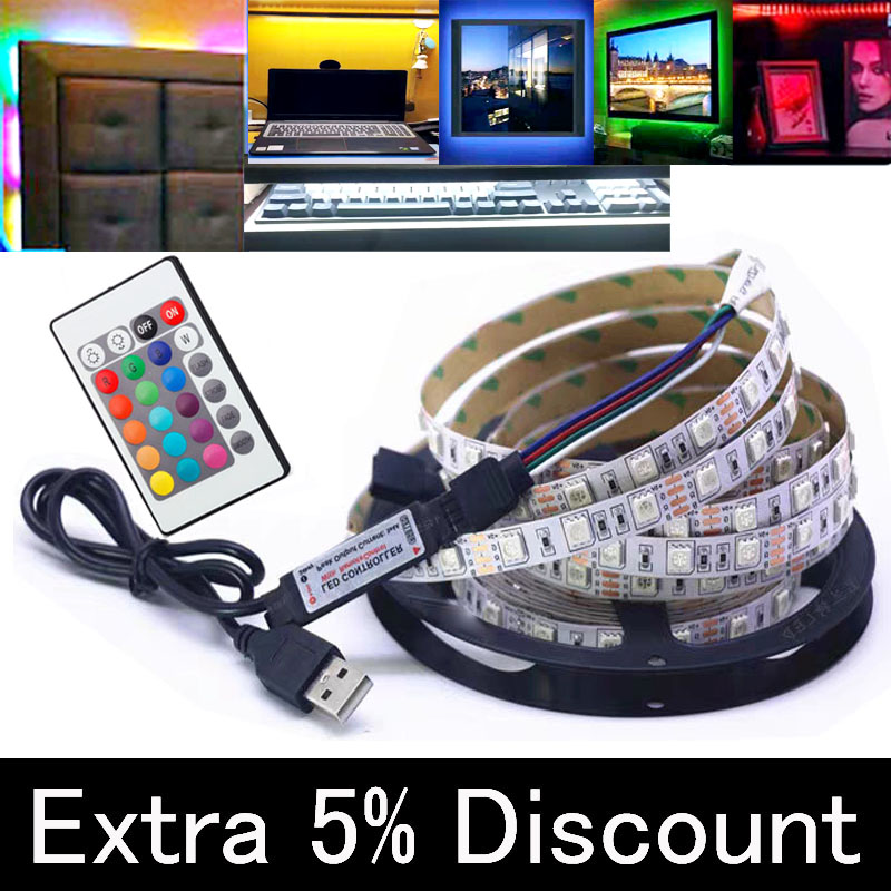 5V 2835 30/60/120/180SMD White/Warm White/Blue LED Strip Light Bar TV Car Back Lighting USB Self-adhesive Rgb Led
