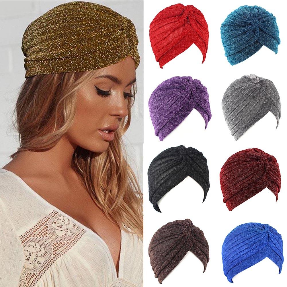 Women Shine Silver Gold Knot Twist Turban Headbands Cap Autumn Winter Warm Headwear Casual Streetwear Female Muslim Indian Hats
