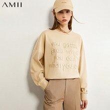 AMII minimalisme automne mode petit ami Style broderie femmes Sweatershirt casual Oneck lâche lettre femme pull 12040329