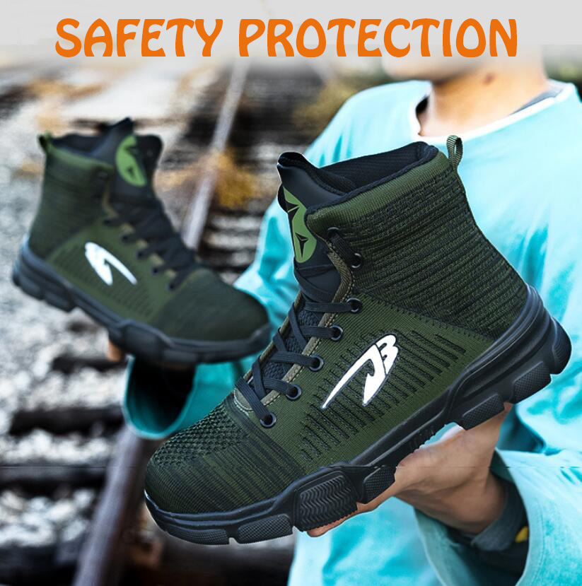 Winter New Men's Anti Smashing Cotton Steel Toe Work Shoes High Top Warm Boots Men Puncture Proof Safety Shoes Air-mesh