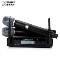GLXD4 UHF Wireless Microphone System With 2 Handhled Cordless Mic BETA 87A BETA87A Micro For Karaoke Stage Church Wedding Party