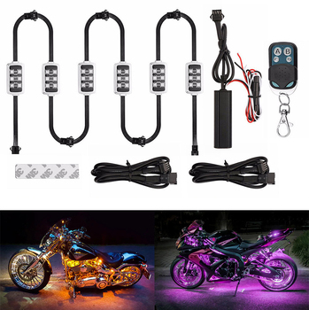 Niscarda Car Motorcycle RGB LED Smart Brake Lights Atmosphere Light With Wireless Remote Control Moto Decorative Strip Lamp Kit