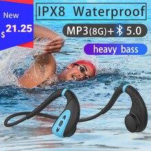 Novo q1 fone de ouvido de condução óssea embutido 8g ipx8 à prova dwaterproof água mp3 player de música natação mergulho fone de ouvido 15 dias de espera