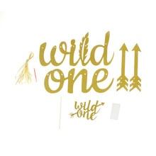 Золотой блеск дикий один баннер вечерние первый день рождения знак мальчик украшение для девушки поставки