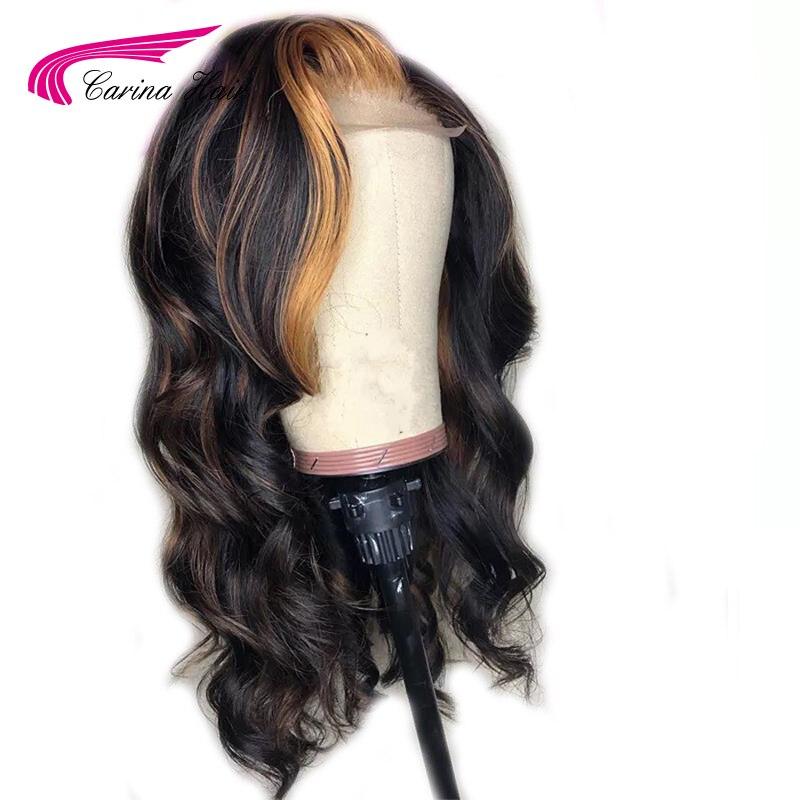 Image 2 - 카리나 브라질 느슨한 딥 레이스 프론트 인간의 머리 가발 preplucked 13*3 레미 옹 브르 컬러 glueless 가발 하이라이트프론트 레이스 가발   -
