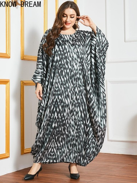 KNOW DREAM Plus Size Dress Large Size Oversized Loose Printed Bat Long Sleeve Robe Muslim Women Dress Woman Dress 2