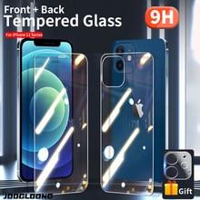 Frente + para trás vidro temperado para o iphone 12 pro max mini protetor de tela para o iphone 11 pro capa completa lente da câmera película protetora