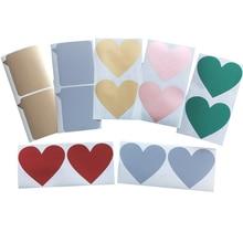 700 개/몫 사랑스러운 황금 붉은 심장 대화 디자인 스크래치 코팅 스티커 DIY 다기능 긁어 스티커 장식 레이블