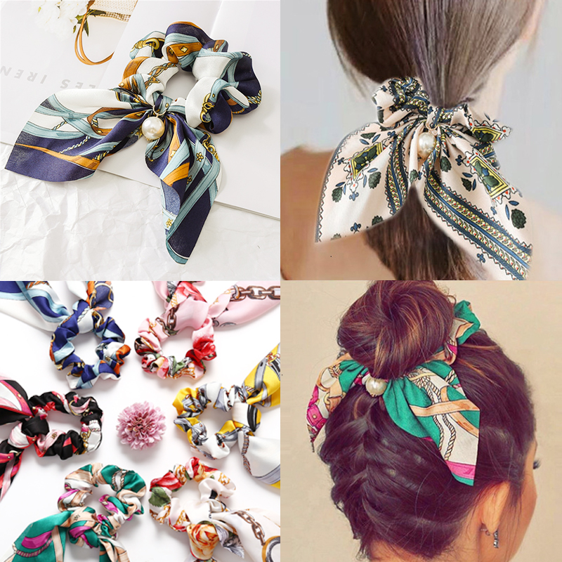 17KM Floral Pearl Hair Band Long Ribbon Bow Ponytail Scarf Hair Tie Scrunchies Women Girls Elastic Hair Bands Hair Accessories