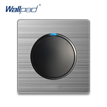 Wallpad 1 Gang 1 Way Wall Light Switch Random Click Push Button With LED Indicator Stainless Steel Panel Home ce 86 type led random point switch mirror acrylic household stainless steel brushed panel 1 2 3 4 gang 1 way 2 way switch