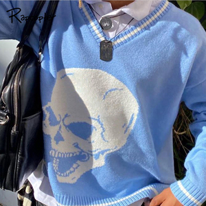Rapcopter Y2K Sweaters Skulls Pullovers V Neck Knitwear Loose Casual Knitted Tops Women Streetwear E-Girl Tops Blue 2020 Autumn