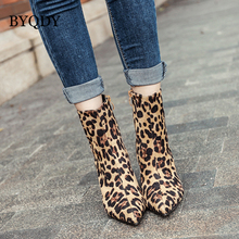 BYQDY Autumn Winter Boots Leopard Print Ankle Pointed Toe Ladies Shoes High Heel Womens Casual  Size 35-40