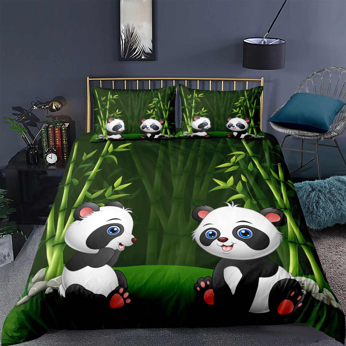 Cartoon Panda Pattern 3d Duvet Cover Set Kids/Children Soft Bedding Set Boys Girls Comforters Cover Green Bamboo Bed set
