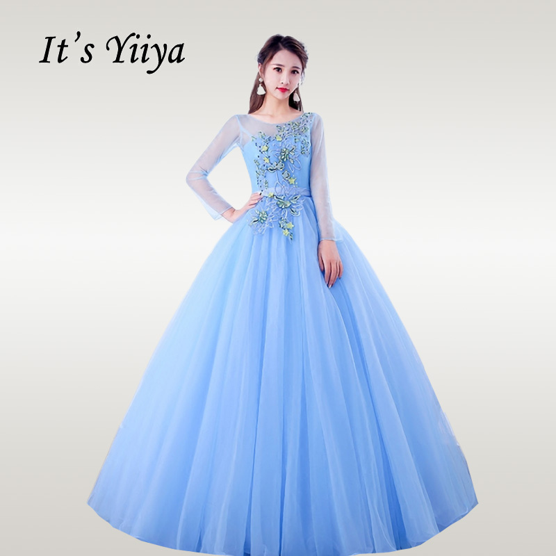 It's YiiYa Wedding Dress Elegant Embroidery Long Sleeve Blue Wedding Dresses Plus Size O-neck Floor Length Robe De Mariee CH088